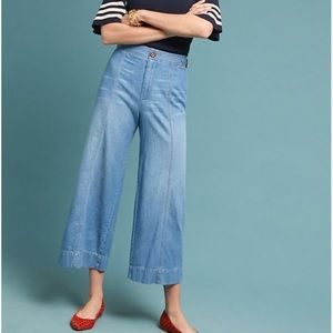 Anthro Pilcro Ultra HighRise Cropped Wide Leg Jean